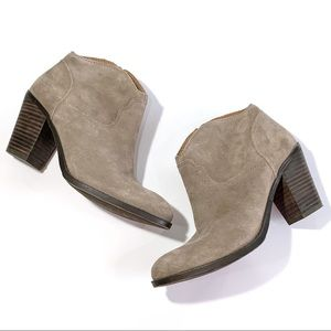Lucky Brand Suede Western Style Booties Tan 7.5